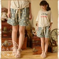 2014 women's fresh little print shorts  mori girl style