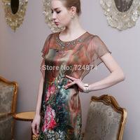 Pure Silk 2014 New Fashion women's quality silk mulberry silk plus size elegant silk one-piece dress