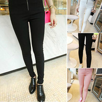 Spring women's 2014 trend fashion skinny pants zipper decoration pencil legging
