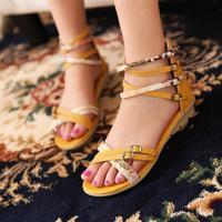 2014 sandals female flat heel flat women's platform summer shoes small fresh young girl yellow