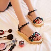 Sandals female flat heel flat summer platform swing shoes sweet paltform 2014 gladiator