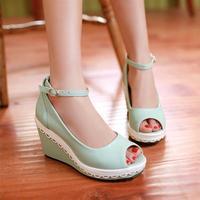 2014 open toe sandals female high-heeled shoes wedges summer women's platform sweet juniors white