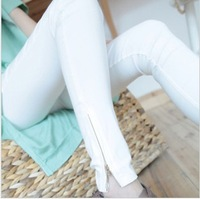 Spring plus size elastic women's tight white zipper