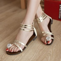 2014 summer flat sandals female shoes flat heel sweet young girl rhinestone flip-flop gladiator