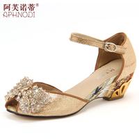 2014 sheepskin rhinestone beaded wedges shoe women's open toe sandals female
