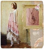 Mori Girl New arrival vintage fresh embroidery spaghetti strap one-piece dress full dress