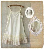 Mori Girl Lined basic spaghetti strap fashion one-piece dress loose lolita cawaii winter lace basic dress camisetas mujer