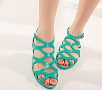 2014 women's sandals mesh plaid jelly shoes girl's shoes high-top sandals mesh hole plastic shoes sandals flip-flops