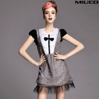 Fashion women's miuco2014 sweet princess color block decoration bow short-sleeve silk one-piece dress