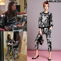 high quality free shipping Fashion spring and summer  women's black and white print vintage fashionable casual set