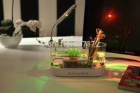 Black/ White Mini USB LCD Desktop Lamp Light Fish Tank Aquarium LED Clock