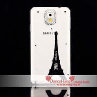 Free Shipping Items Bling Fashion Rhinestone Black Romantic Eiffel Tower Transparent Case For Samsung Galaxy Note 3 N9000