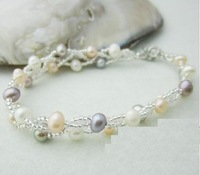 colorful natural pearl bead multi layer bracelet gift for woman free shipping