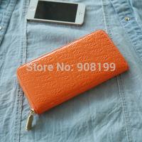 Ff  embossed japanned leather long wallet soft summer colour handbag