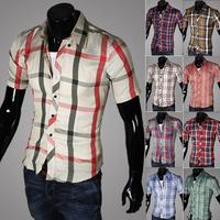 2014 new arrival fashion men's clothing lovers shirt male short-sleeve plaid shirt male shirt