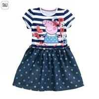 girls dresses 3~7age 2014 peppa pig cartoon polka dots 2014 summer new fashion kids dress shij207