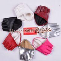 Women's semi- palm leather gloves half finger gloves sing gloves mitts halter pu pole dance imitation sheepskin gloves