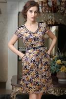 Pure Silk  2014 Summer women's new European style V neck short sleeve silk dress Freeshipping