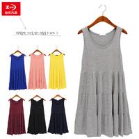 Summer loose modal one-piece dress spaghetti strap female basic medium-long tank dress layered dress maternity plus size