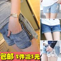 Maternity pants summer denim shorts belly pants jeans maternity clothing shorts knee-length pants