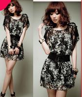 New 2014 Fahion Women's Winter Dress  Print Bat-Wing Sleeve Dress Chiffon Sleeveless Casual Dress With 6 Size Plus Size