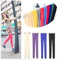 Quarter Korean fashion casual colorful candy -colored slim fluorescent mesh pantyhose leggings Wholesale