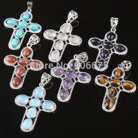 New Fashion Multi-Stone Mixed Stones Crystal Quartz Turquoise Beads Gemstone Cross Pendant Beads Charms Wholesale