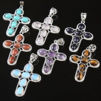 New Fashion Multi-Stone Mixed Stones Crystal Quartz Turquoise Beads Gemstone Cross Pendant Beads Charms Wholesale