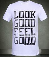 Free shipping 2014 new brand dirk bikkembergs DB sport 100% Cotton Mens T-Shirt solid colour shirt look good feel good