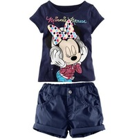 wholesale baby products clothing 2014 summer minne mouse t shirts suit with shorts 3~7age cartoon girls apparel 3set/lot