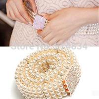 2014 New design Fashion gold buckle inlaying rhinestone Cummerbunds for women,brand pearl elastic Belt women's strap