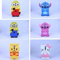3D Lilo Stitch Despicable Me Minion Cartoon Cute Soft Cover Case For LG G2 Silicone Protective Skin Design FreeShipping