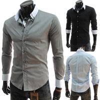 2014 spring fashion male color block collar long-sleeve turn-down collar shirt slim men