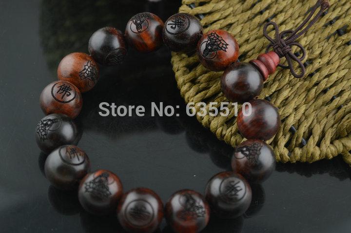 Red Sanders Wood Round Beads Mala Bracelets 1.5mm Carved Buddha sandalwood Bracelet(China (Mainland))