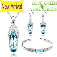 2014 Free Shipping Wholesales Fashion jewelry sets 18KGP Austrian Crystal Slipper pendant necklace earrings bracelet set 83782