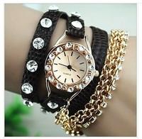 2014 New Hot Sale! Summer Fashion Latest Popular Hawaiian Style Sparkling Rhinestone Long Leather Sling Chain Quartz Watches