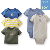 5pcs/lot,Hot 2014 Carter Baby Boys Short Sleeve Bodysuit Infant Summer clothing Suit NEWBORN 3 6M,In Store, Free Shipping
