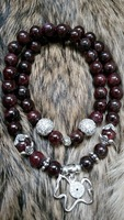 """""""ORIGINAL"""" Real Garnet With 925 Silver Horse (with man-made diamonds) In 2 Circles"""