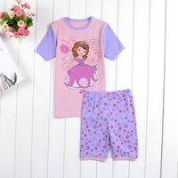 Wholesale 6pcs/lot 2014 New Girls Princess Sofia Pajamas Children's Cartoon Pijamas Pyjamas Baby Clothing set Printed Sleepwears