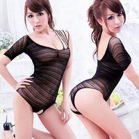 Women's sexy underwear sexy tight one piece transparent milk open file netting queen