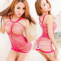 Sexy tight-fitting women's milk transparent cutout netting sleepwear uniform rope clothing temptation