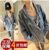 Bf HARAJUKU loose big pocket denim top turn-down collar 2014 summer  and autumn outerwear women's jacket*