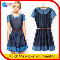 New In 2014 Spring Summer Women's Denim Princess Dress Short Sleeve Casual Mini Dress With Belt