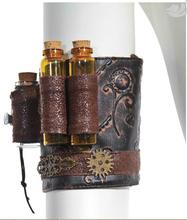 RQ-BL Steampunk Accessory Secrets Bottles cogwheels PU arm band sp057(China (Mainland))