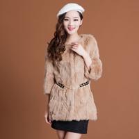 Clothing 2014 female winter luxury medium-long slim rabbit fur belt fur coat