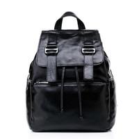 women leather backpack high-grade cowhide gloss vintage bag travel bag