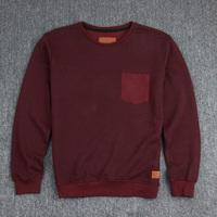 Minimun 100% cotton terry pullover special chevron fabric pocket sweatshirt