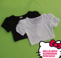 2 puff sleeve tube top blank t-shirt short-sleeve gulps half basic 100% cotton shirt