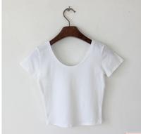 Spring and autumn basic short design racerback slit neckline T-shirt short-sleeve shirt tight high waist top female
