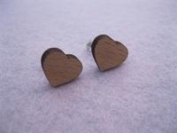 cute fashion jewellry little heart shape  wood stud earrings